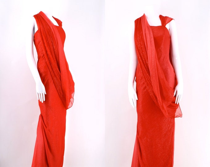 90s DONALD DEAL gown : ombre silk sari style lipstick red evening gown 1990s vintage dress size xs