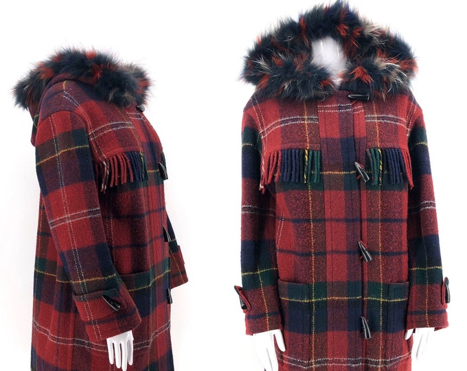 80s YSL red plaid wool fringe blanket coat / 1980s vintage Yves Saint Laurent Fourrures hooded fur trim coat 38 8 m-l