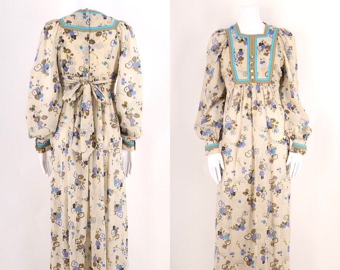70s English peasant dress sz 6 / vintage 1970s floral sheer bishop sleeve prairie gown UK8 US 6