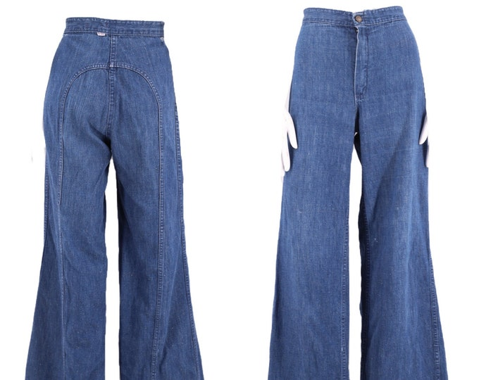 70s LOVE N STUFF saddle stitch high waist denim bell bottoms jeans 30  / vintage 1970s dark denim flares pants 8