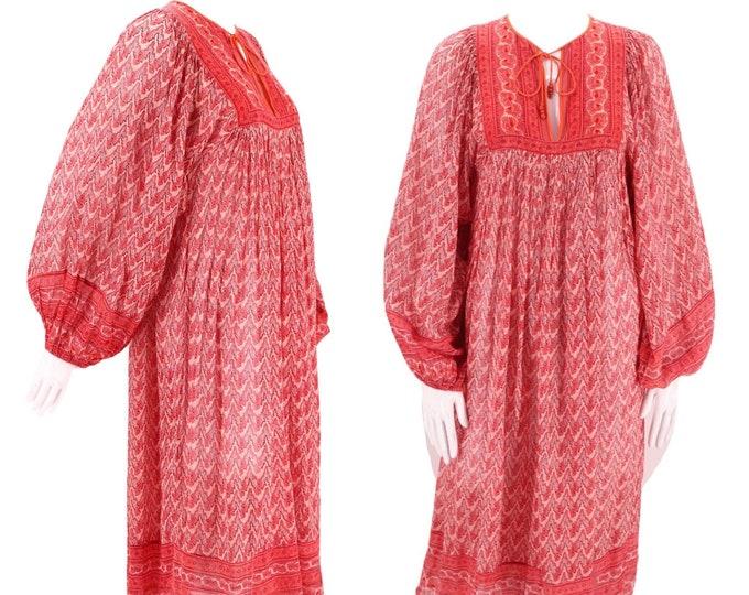 70s JUDITH ANN Rita Kumar red tissue cotton India print peasant dress S / vintage 1970s billowy hippy festival caftan XS 4