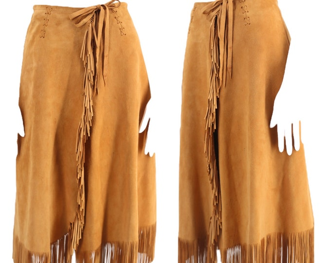 80s CHAR suede western fringe skirt S / vintage 1980s char & sher tan wraps skirt small