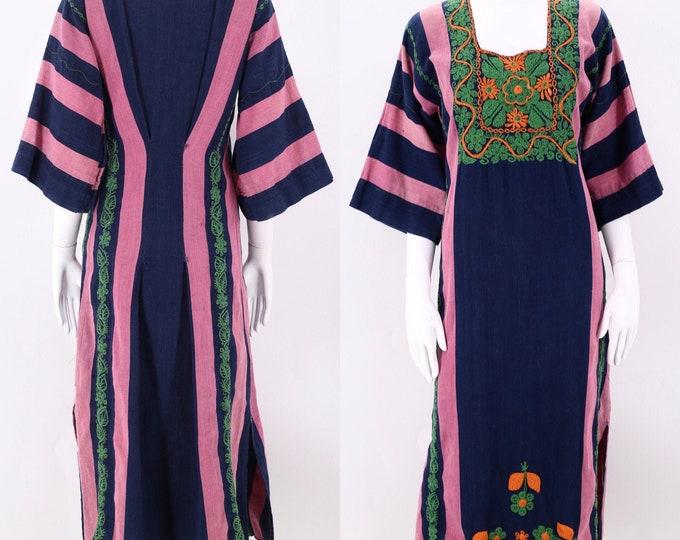 1970s Embroidered Striped Kaftan Dress  M  / vintage 1970s peasant prairie boho dress medium caftan