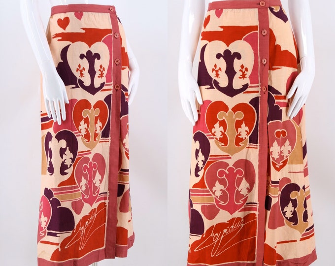 70s TED LAPIDUS cotton print scarf wrap skirt / vintage 1970s novelty print designer skirt sarong size M