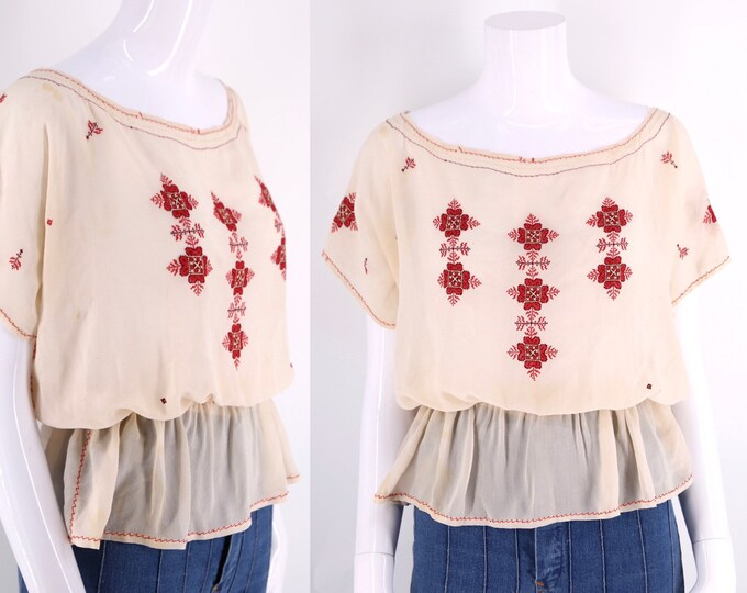 30s ethnic silk red embroidered blouse / vintage 1940s 30s folk peasant top Hungarian Romanian Czech sz M AS IS