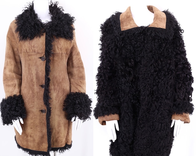 vintage shearling fur suede reversible coat sz L / vintage 70s 80s black shaggy curly lamb jacket size 12