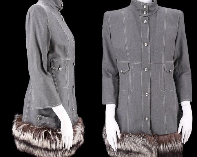 90s Gianfranco Ferre fox fur trim coat M / vintage 1990s silver fox fur trim gray wool tailored coat 8