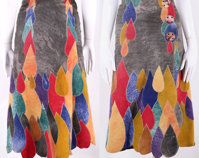 "70s CORDOBA LONDON suede patchwork skirt XS / vintage 1970s Psychedelic teardrop A line snap skirt 24"" waist"