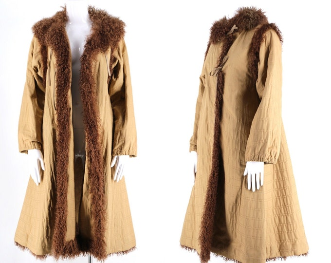 70s Fendi khaki fur trim swing coat / vintage 1970s chevron stitched cotton coat w Mongolian fur trim size M- L