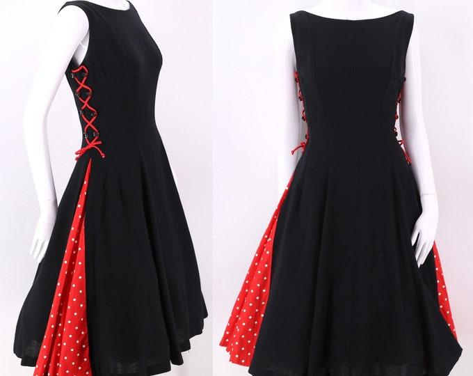 50s black lace up party dress  / vintage 1950s Minnie Mouse polka dot full circle skirt dress sz 8