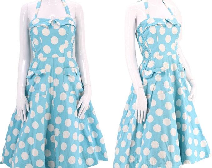 50s cotton full skirt halter dress  / vintage 1950s MYLADY robins egg blue polka dot pin up mid century sundress M