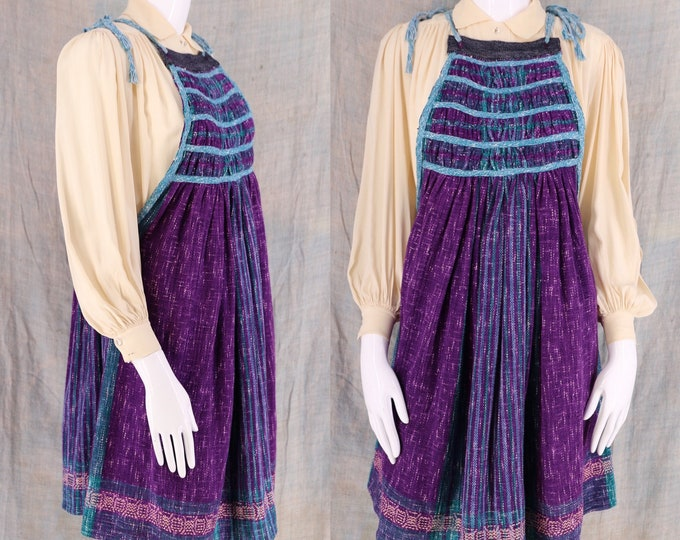 70s-80s woven cotton bohemian apron dress / vintage ethnic baby doll summer beach dress M-L