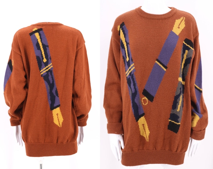 90s PAUL SMITH novelty print sweater with PENS 2 /  vintage 1990s unisex designer brown pullover top M