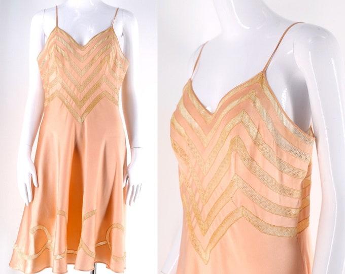 40s silk & lace chevron slip sz L / vintage 1940s lingerie swirl pattern pink bias cut slip