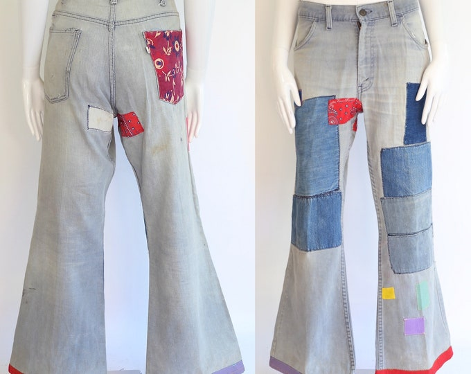 60s LEVIS denim patched jeans bells sz 37 / vintage 1960s 1970s  hippy patchwork bell bottoms pants large