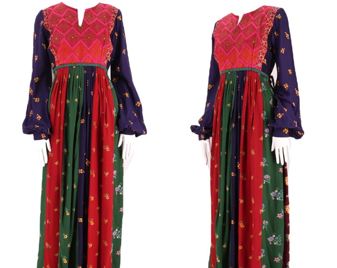 70s Afghan rayon embroidered print peasant dress M / vintage 1970s WOODSTOCK NY mixed media embroidered hippy festival maxi Medium