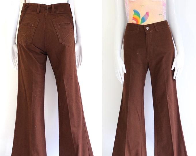 70s cotton high rise bell bottoms 30 / vintage 1970s Chemin De Fer stitched bells flares pants 30 x 32