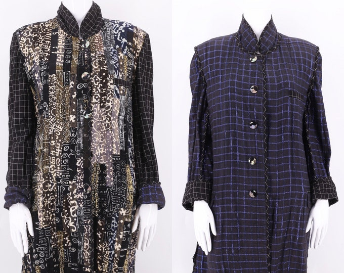 80s NADYA metallic lurex cotton duster coat / vintage 1980s reversible print coat M-L