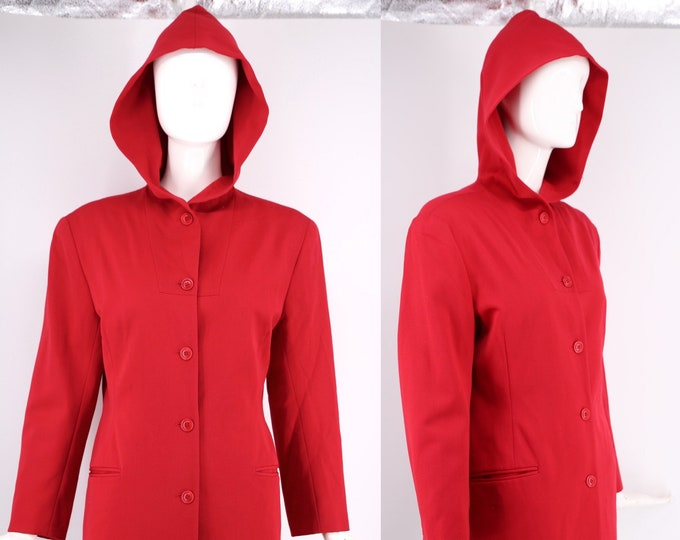 80s Norma Kamali hooded jacket / vintage 1980s Kamali Omo red blazer with hood sz 8