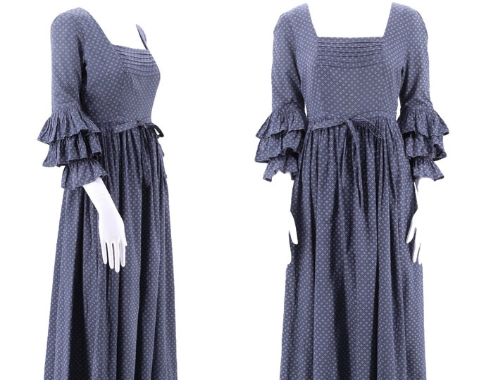 70s LAURA ASHLEY early cotton prairie peasant dress sz 6 / vintage 1970s Wales blue calico Victorian gown RARE uk 14 us 6