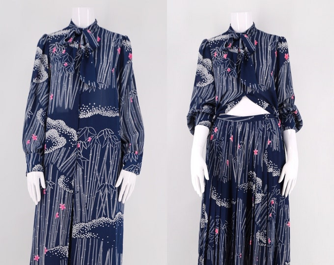 70s Hanae Mori novelty print navy rayon 2 pc set with with star cloud bamboo print : tunic dress and skirt 1970s vintage size 8- 10