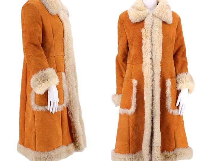 70s PENNY LANE orange suede & shearling trim coat / vintage 1970s almost famous COAT fur jacket M