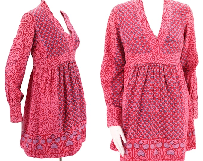 60s India cotton print mini dress 6-8  / vintage early 1960s peasant sleeve pink Sixties baby doll dolly mini S