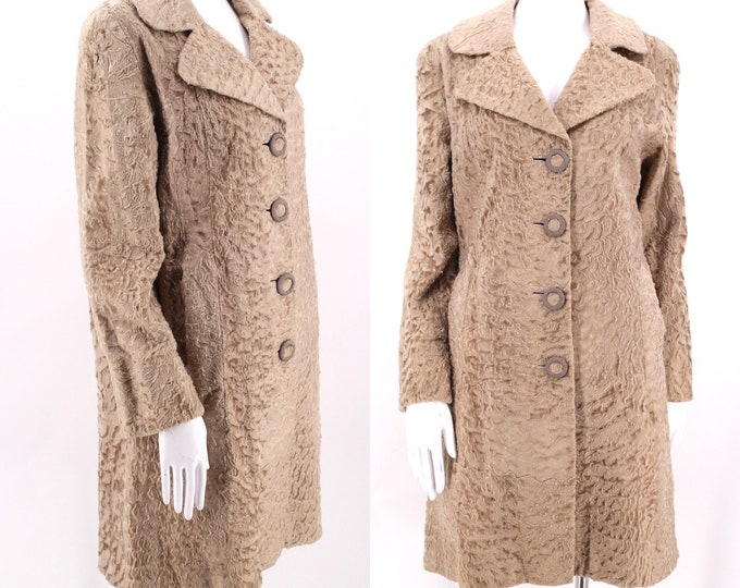 60s beige sheared lamb fur coat L / vintage 1960s alabaster astrakhan Persian fur A line coat jacket