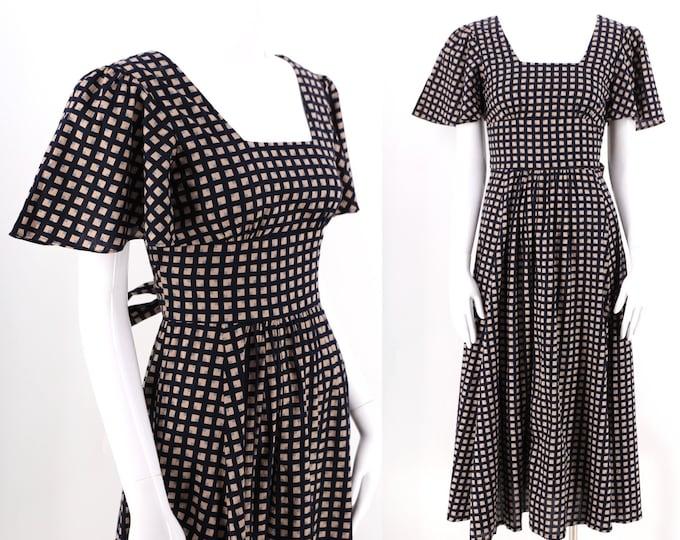 70s navy VALERIE GOAD England cotton check print peasant dress / vintage 1970s romantic sash back dress sz 4