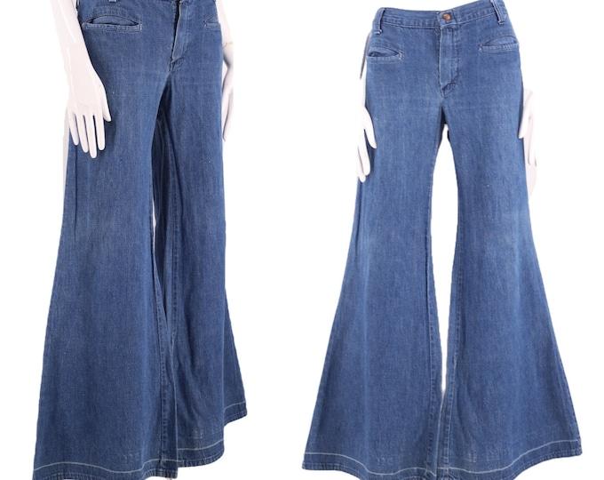 60s low rise hip huggers denim bell bottoms jeans 32  / vintage 1960s elephant bells flares pants L 70s