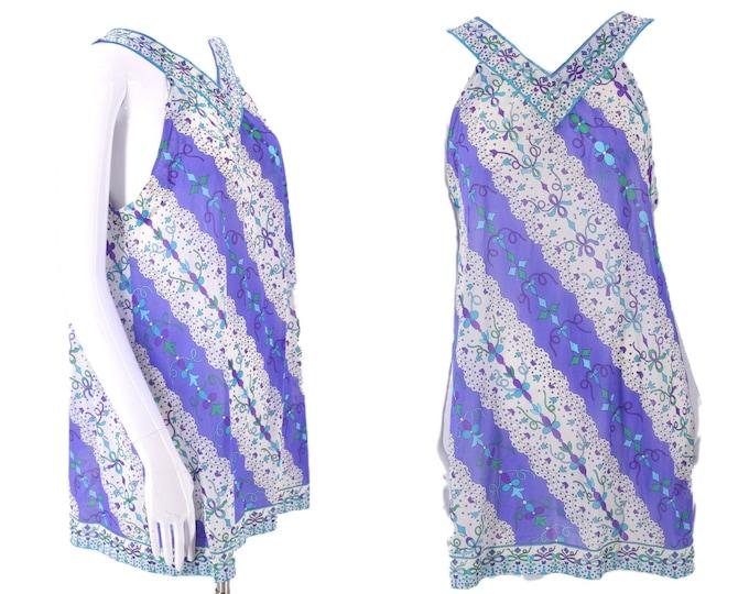 60s EMILIO PUCCI Epfr psychedelic print trapeze top  / 1960s 70s vintage EPFR slip nightie blouse teddy M