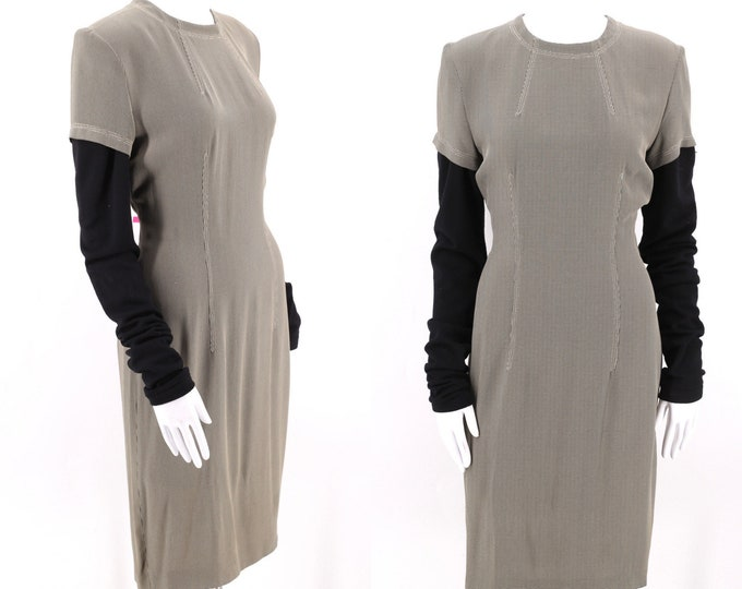 90s OZBEK Future knit sleeves dress 6 :  vintage 1990s avant garde designer rayon sheath dress