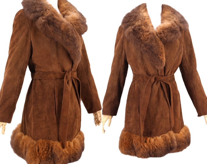 70s PENNY LANE brown suede & fur trim coat M / vintage 1970s possum almost famous tie COAT jacket 60s