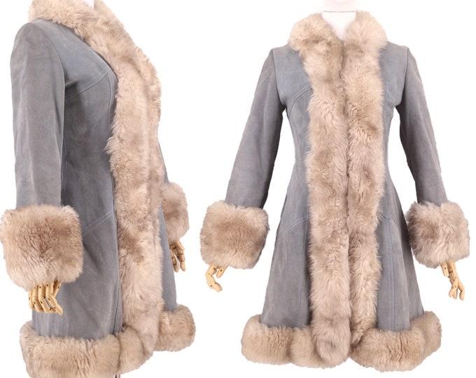 70s PENNY LANE blue suede & shearling trim coat S / vintage 1970s GASTOWN almost famous coat fur jacket gray