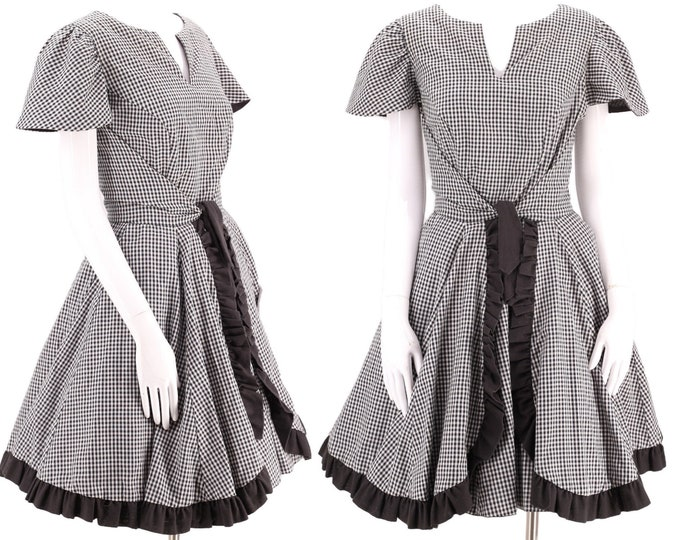 50s style Western  cotton full skirt dress L  / vintage 60s 70s SACKS black gingham check pin up mid century sundress