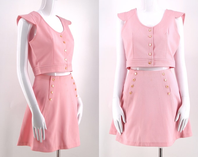 60s baby pink skater mini 2 piece set / vintage 1960s poly mini skirt & crop top outfit dress sz M 28""