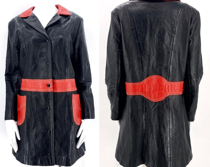60s LEATHER black & red MOD coat / vintage 1960s snap front graphic  Moto scooter jacket coat sz L