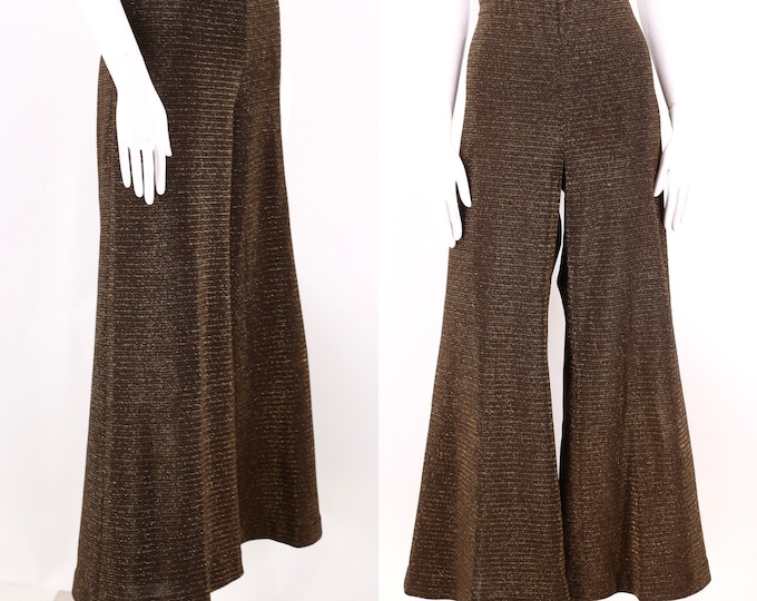 """70s gold metallic high rise bell bottoms pants 31"""" / 1970s vintage poly stretch palazzo wide leg flowy pants 12 / Large"""