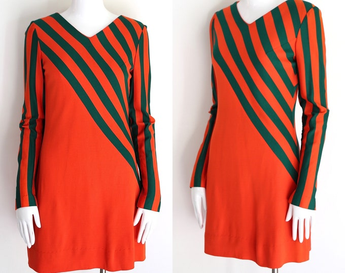 60s CORKY CRAIG mini dress sz S / vintage 1960s orange & green striped poly late 690s mini dress sz 4-6