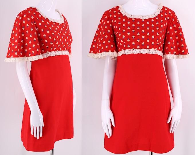 60s red cotton daisy floral mini dress / vintage 1960s lace trim A line dolly dress sz 6