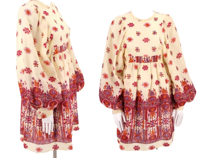 60s bishop sleeve micro mini dress M  / vintage early 1960s peasant sleeve Regency inspired swinging Sixties baby doll dolly mini 8-10