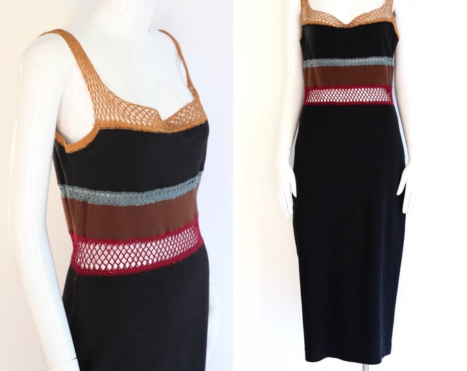 80s VIVIENNE TAM East Wind Code dress :  vintage 1980s black body con cotton spandex tube dress M