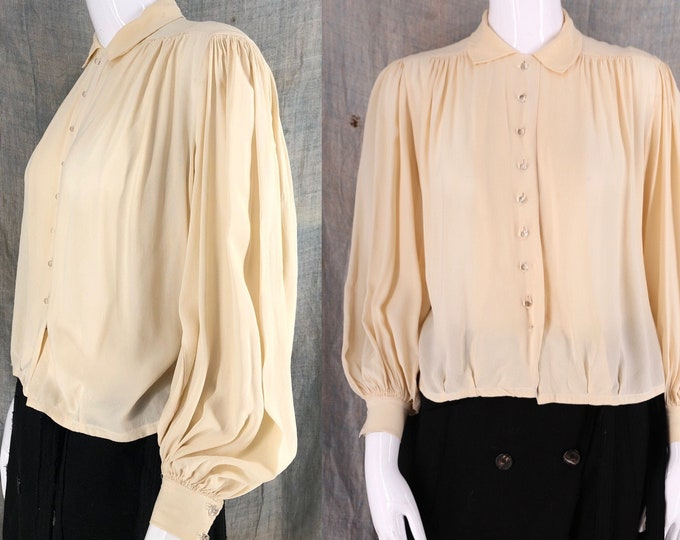30s ivory silk smocked peasant sleeve blouse / vintage 1930s blouson sleeve top M-L