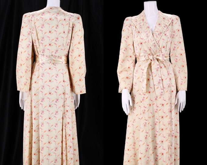 40s Satin floral print satin dressing gown M / vintage late 1940s puff shoulder silky floor length dress breakfast robe S-M