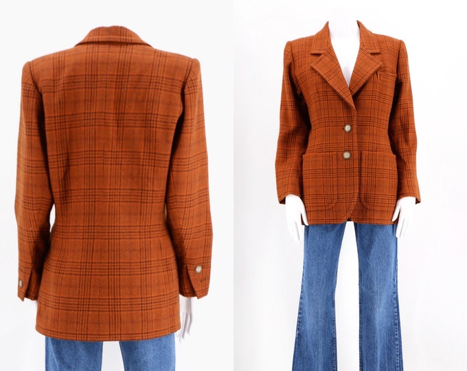 80s YSL rust wool check plaid blazer / vintage 1980s 1970s Yves Saint Laurent