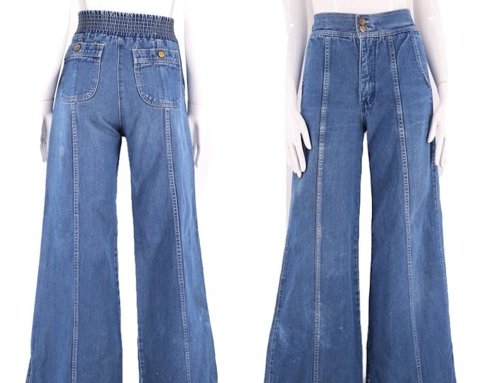 70s denim high waisted bell bottoms jeans sz 28 / vintage 1970s PENTIMENTO bells flares pants elastic back 6-8