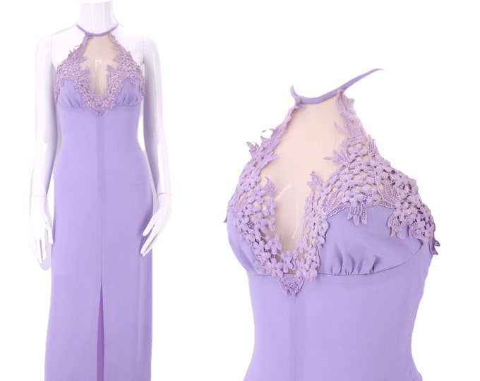 70s FREDERICKS of HOLLYWOOD disco dress S / vintage 1970s lavender poly maxi gown with nude panel size small / 4