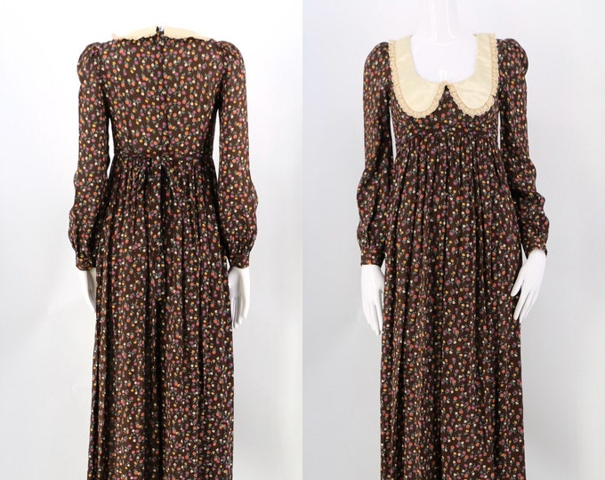 70s brown floral rayon prairie dress / vintage 1970s satin baby doll collar maxi gown size 4