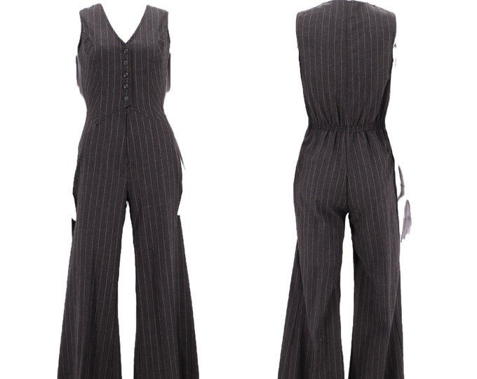 70s bell bottom pinstripe jumpsuit size M / 1970s original gray glam rock and roll one piece size medium sz 6
