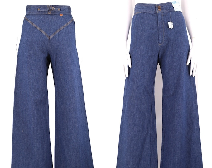 70s LEVIS Orange Tab high waisted denim bell bottoms jeans 26  / vintage 1970s super rare BUCKLE BACK dark denim flares pants deadstock 6-8